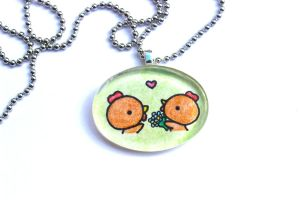 Hand Drawn Glass Chicken Love Pendant by PinkChocolate14