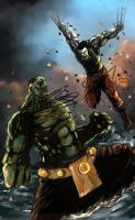 Ultimate hulk vs wolverine by RocketPancake