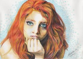 ballpoint pen:portrait of Noemi by emylee