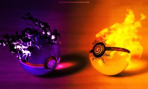 The Pokeballs of Naruto and Sasuke (Tribute) by Jonathanjo