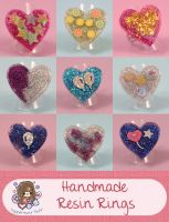 Handmade Resin Heart Rings by PeppermintPuff