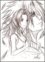 aerith and zack fanart by guto-strife-1