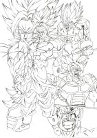 Broly Vs saiyans (need colors) by bloodsplach