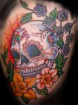 Sunset Sugar Skull - Thigh by SuperSibataru