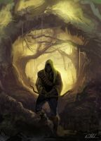 hunter in the woods by vennom07