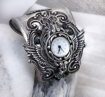 Steampunk Watch Silver Black 2 by Aranwen