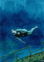 Abe Sapien's Deep diving by didism