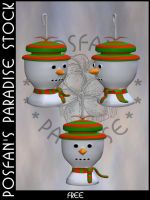 Xmas Baubles 012 Snowman by poserfan-stock