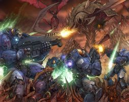 Marines vs. a zerg rush by ghost67
