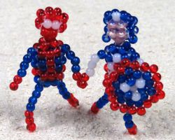 Beaded Spiderman and Captain America by Anabiyeni
