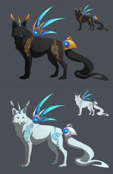 Sun and Moon Warrior Wolf Adoptions by Drayok