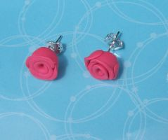 Hand-crafted Pink Rose Earrings by Kimmyo801