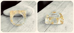 Handmade Resin Ring with 24kt Gold Leaf Flakes by crystaland
