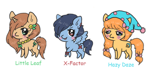 3 Adoptable Ponies by Minessa