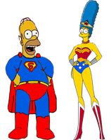 Superhomer and Wonder Marge by darthraner83