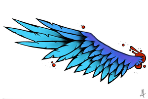 Wing Tattoo Design by T-3-K