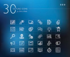 Seo Outline Icons Set by dryopus