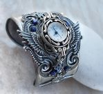 Steampunk Watch -Silver + Blue by Aranwen