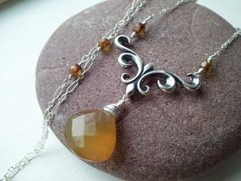 Fleur De Lis Honey Chalcedony Necklace by QuintessentialArts