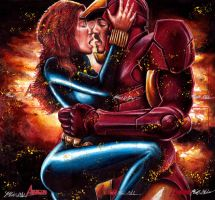 Blackwidow Iron Man The Kiss by Twynsunz
