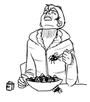 philip laughing alone with spiders by bluecorp