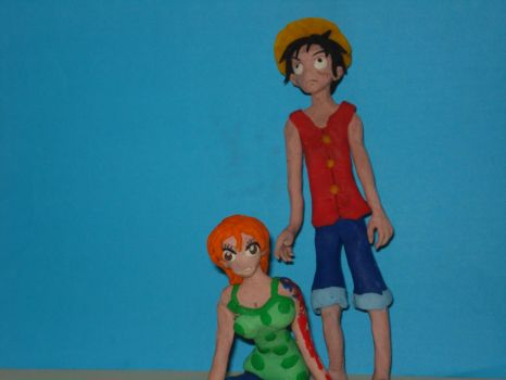 Luffy and Nami (claymation) by Xiakeyra