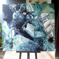Batman vs Bane painting by Fandias