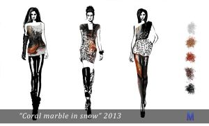 Mini collection - Coral marble in snow 2013 by Marsha-Veliguro