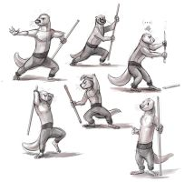 Kung Fu Otter Fighting Stick Poses by Temiree