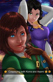 Cosplaying with Korra and Asami by IYIythicInk