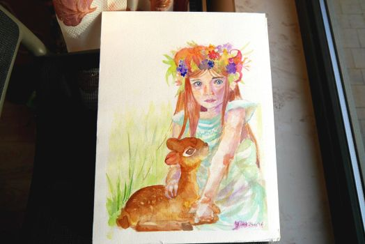 Girl with Deer - Aquarel Painting by themorningelegance