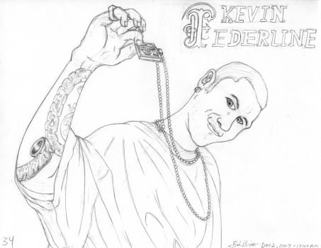 Kevin Federline, drawn in 2009, in a baggy tee by Simpsonizer
