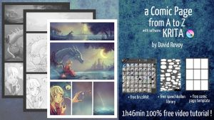 Free tutorial: A comic page from A to Z in Krita by Deevad
