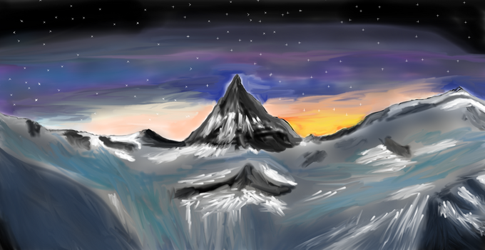 cold mountain starry night by TJTHEBOSS