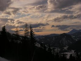sunset in the mountains by hanuschni