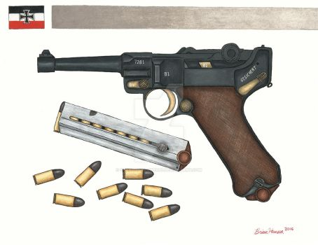 Wallhanger- WWI P-08 Luger by stopsigndrawer81