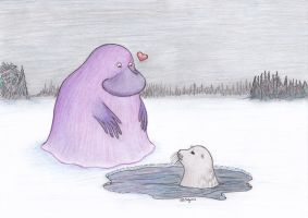 The Groke and Ringed Seal by Saynis-Saeynis