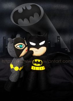 Batman and Catwoman plushie by prismtwine