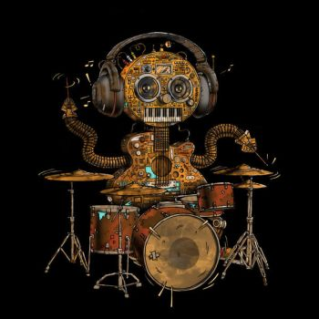 Music Robot Drum Shirt by Design-By-Humans