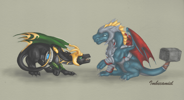 Baby Thor and Loki Dragons by Imbecamiel