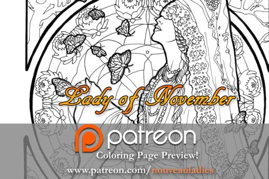 lady of november patreon coloring page by angelasasser