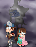 Dipper and mabel in the darkness by kamzilla456
