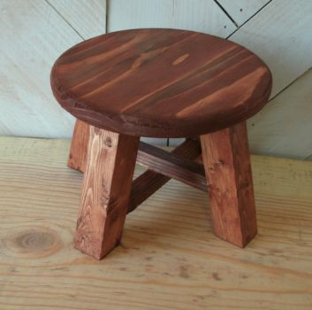 Dark Stained Small Stool - Plant Stand by sweetpie2