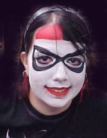 Harley Quinn Face paint by dragonhuntr