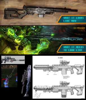 StarCraft Ghost Costume - Rifle Progress by Roskvape