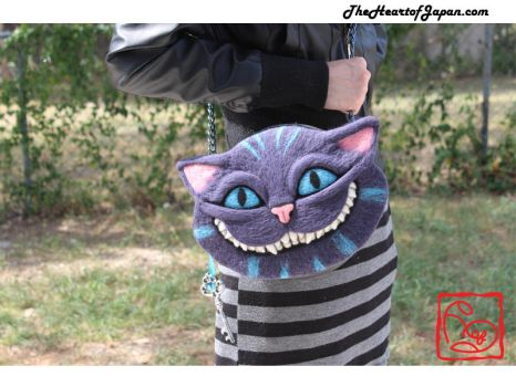 Needle Felted Cheshire Cat Purse by TheHeartofJapan
