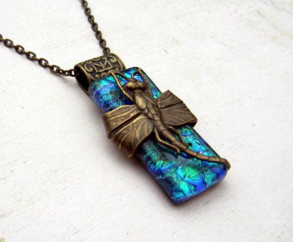 Dragonfly Emerald Green Fused Glass Pendant by FusedElegance