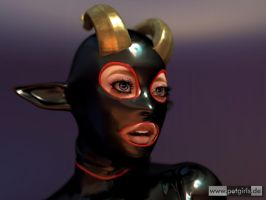 Faun in black, red and brass by My-Rho