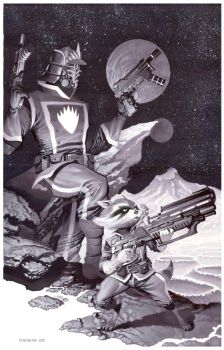 StarLord + Rocket- Marker Illo by ChristopherStevens