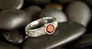 Embossed Solitaire Ring, Sterling Silver by StephaniePride